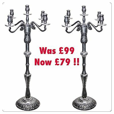 Twinpack 5 Arm 100cm Silver Metal FLOOR Candelabra Candle Holder Wedding Decor