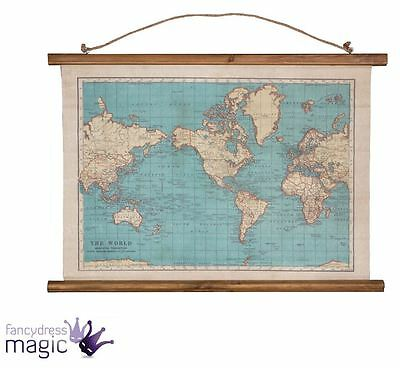 Sass & Belle Vintage Collection World Map Wall Hanging Canvas Tapestry Home Gift