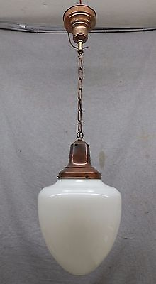 Antique Brass Ceiling Light School House Bank Large Milk Glass Globe Vtg 1284-16