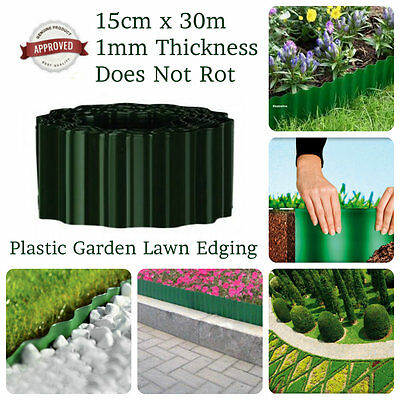 30m Roll Of Green Plastic Garden Lawn Border Edging Fence Pathway Grass Boundary