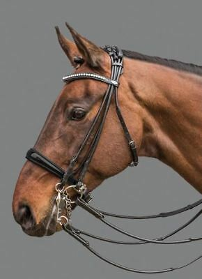 Mountain Horse Equestrian Maestro Leather Padded Neckband Noseband Double Bridle