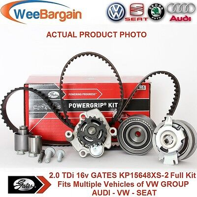 VW Group 2.0 TDI 16v Engines GATES KP15648XS-2 Timing Belt Kit with Water Pump
