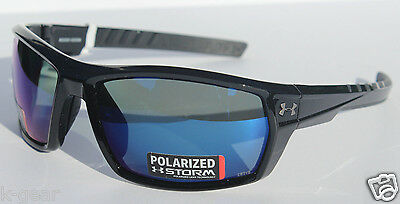 8542c9ffcff UNDER ARMOUR Ranger POLARIZED Sunglasses Shiny Black Blue Storm Sport NEW   160
