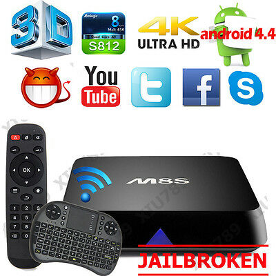 4K S812 2G+8G M8S Smart TV Box Android4.4 Quad Core Fully Loaded Wifi + Keyboard
