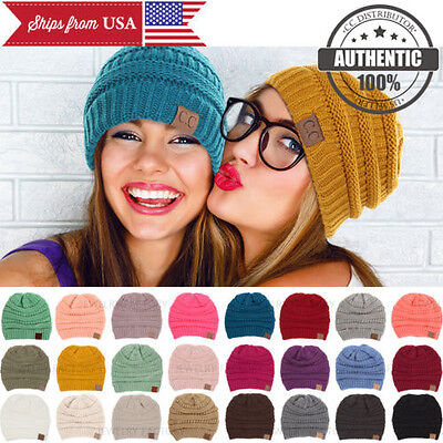 CC BEANIE New Women Cable Knit Super Cute Beanie Thick Cap Hat Unisex Slouchy