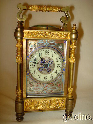 Great 19th C.Brass Embossed/Enameled Strike,Repeat Carriage Clock No Reserve