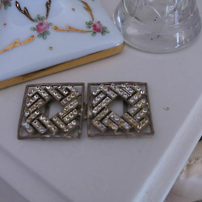 Vintage diamante silver tone metal belt buckle