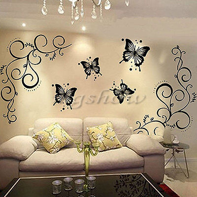 Home Room Wall Stickers Butterfly Vine DIY Removable Vinyl Decal Art Mural Decor