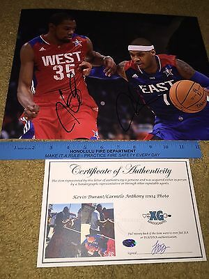 Kevin Durant Carmelo Anthony Signed Autographed All-Star 11X14 Photograph-Coa