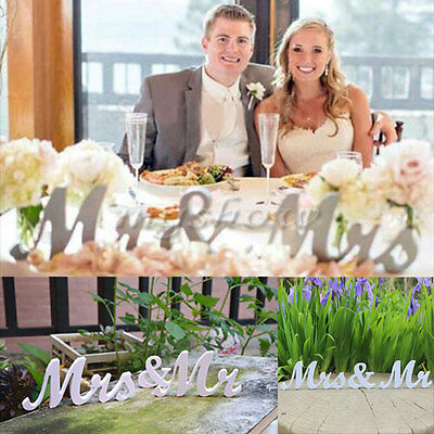 MR And MRS Sign Letters White PVC Standing Top Table Wedding Gift Decoration