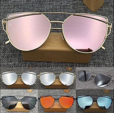 Fashion Womens Sunglasses Flat Lens Mirror Metal Frame Oversized Cat Eye Glasses