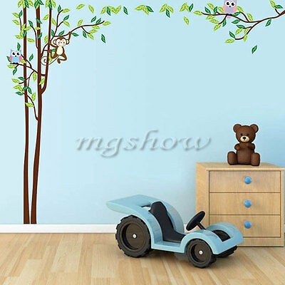 Animal Wall Stickers Zoo Monkey Jungle Tree Nursery Baby Kids Bedroom Decals Owl