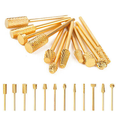 Pro Electric Gold Coated Carbide Acrylic UV Gel Nail Drill Bit Nail Art Manicure