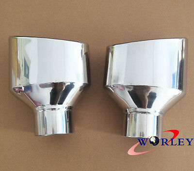 """FOR 2 3/4"""" inlet Stainless Steel oval rolled angle cut Exhaust Tip 8"""" long"""