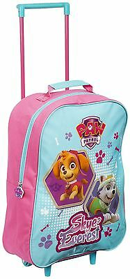 Children Kids Girls Official Pink Paw Patrol Carry On Travel School Trolley Bag