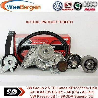 VW Group 2.5 TDI 24v Engines GATES KP15557XS-1 Timing Belt Kit with Water Pump