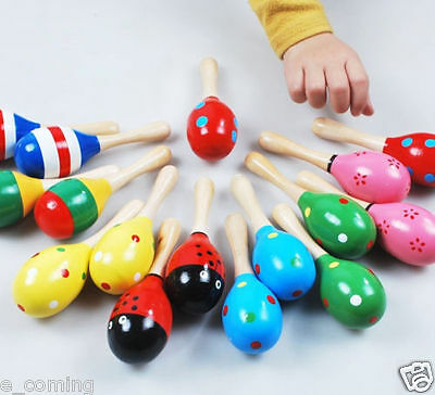 Children Cute Toys Rattles Percussion Music Instruments Wood Baby Sand Hammer CA