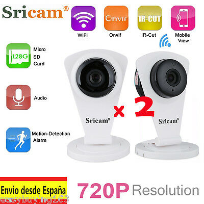 2x Sricam 720P HD IP Cámara Wifi H.264 Wireless ONVIF IR-CUT CCTV Seguridad TF