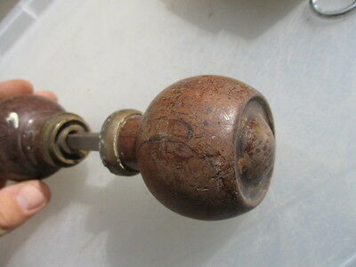 Antique Wooden Door Knobs Handles Vintage Old Architectural Brass Collar Pulls