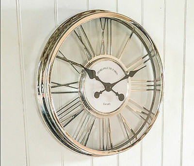 Vintage Large 45cm Silver Chrome Effect Cut Out Roman Numeral Wall Clock Decor