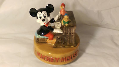 EXC. DISNEY Vintage Handpainted Mickey Mouse Music Box - Playing Piano