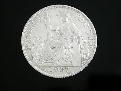 Vietnam French indochina 20 Cents Silver Coin 1937  #01