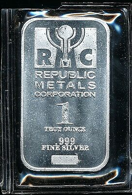Republic Metals Corp 1 Troy Oz .999 Fine Silver Bar