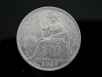 Vietnam French indochina 20 Cents Silver Coin 1937  #02