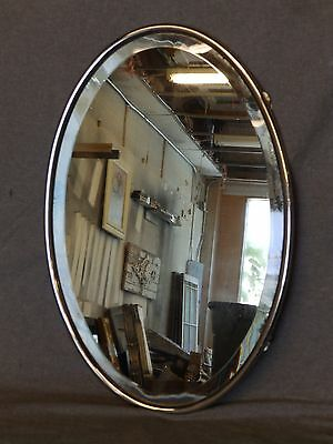 Antique Nickel Brass Oval Bathroom Beveled Mirror Old Vintage Vanity 1316-16