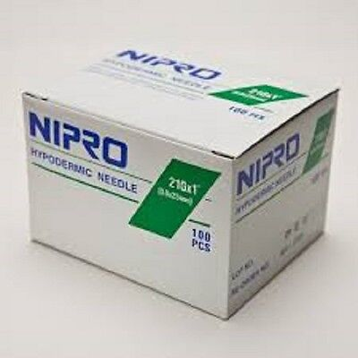 """Nipro 21G x 1 """" Hypodermic Needle -Box of 100- Comes in Sterile Blister Pack"""