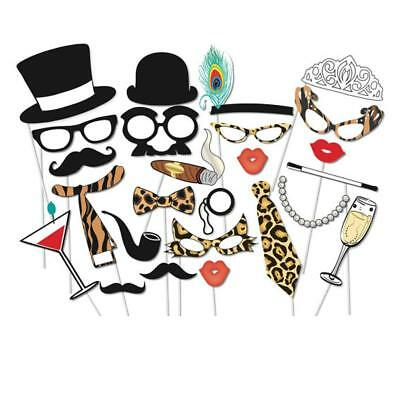 25pcs DIY Mask Photo Booth Props Lips Glasses Hat On A Stick Wedding Party