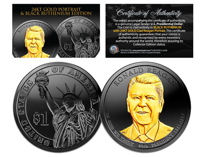 Black Ruthenium 2016 RONALD REAGAN Presidential Dollar Coin w/ 24K Gold (D Mint)