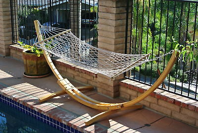 """ProSource Wooden Curved Arc Hammock Stand W/Hammock for Outdoor Patio 10.5"""" Long"""