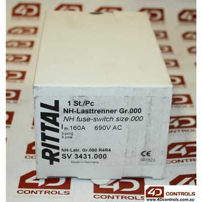Rittal SV3431.000 NH Fuse-Switch size 000 160A 690VAC 3P - New Surplus Open
