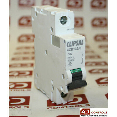 Clipsal 4CB132/6 6kA Miniature Circuit Breakers  240V 32A - New Surplus Open