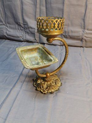 Antique Brass Soap Dish Cup Holder Old Vtg GLO-MAR Bathroom Fixture 1330-16