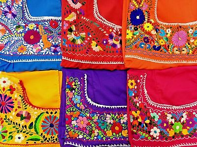 Handmade Puebla Mexican Hippie Peasant Artisan Embroidered Blouse Assorted Color