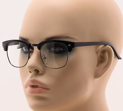 retro club master wayfarer clear lens nerd frames glasses mens womens half metal