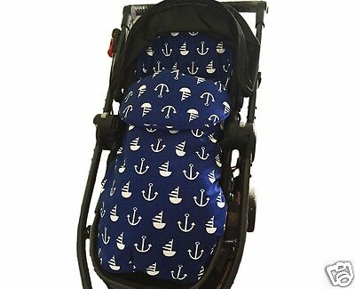 2in1 PRAM LINER FOOTMUFF SLEEPING BAG Cotton Nautical All Year Best GOOSEBERRY