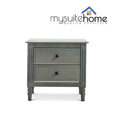 Lydia Solid Rubberwood Vintage Bedside Table Nightstand with 2 Storage Drawers
