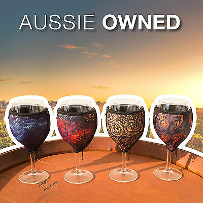 WINE GLASS COOLER - Quality Neoprene | 4 Designs Available