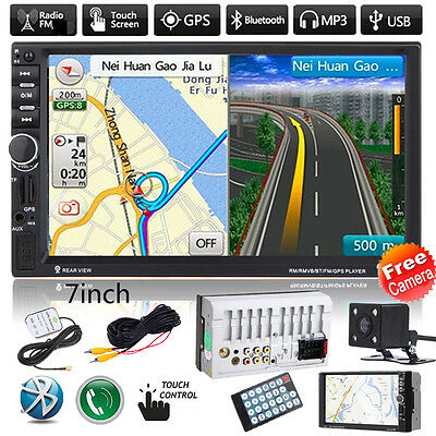 7'' HD Car Bluetooth MP3 Player GPS Navi Radio Double 2 DIN FM/USB/AUX + Camera