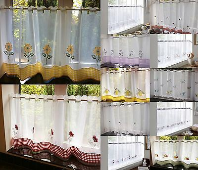 Sheer Voile Cafe Panel Kitchen Bathroom Ready Made Tier Valance Curtain
