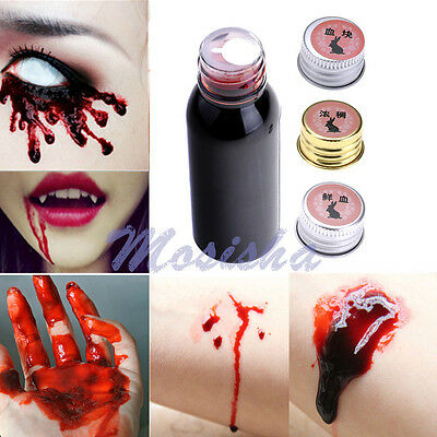 Horror Fresh/Thick/Clot Blood FX Makeup Halloween Stage Fake Prank Vampire 30ml