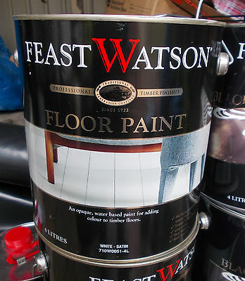 """Feast Watson """"FLOOR PAINT""""satin finish 4 Litre can Water Based"""