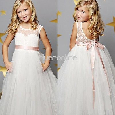 Flower Lace Girls Princess Pageant Wedding Bridesmaid Tulle Birthday Party Dress
