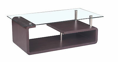 New Glass Coffee Table Mdf Wood Brown Chrome Modern Contemporary Living Room
