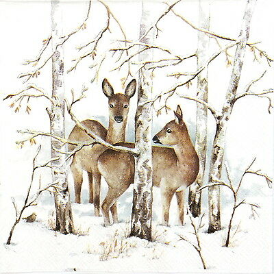 4x Single Table Party Paper Napkins for Decoupage Decopatch Craft Winter Forest