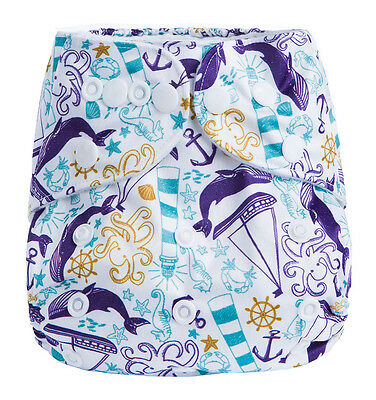 Modern Cloth Reusable Washable Baby Nappy Diaper & Insert, Sail boats