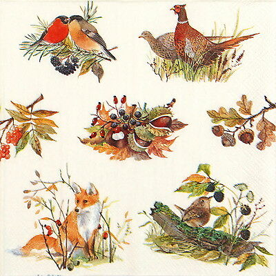 4x Single Table Party Paper Napkins for Decoupage Decopatch Autumn Wildlife